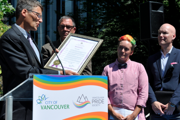 Gregor Robertson presents proclamation to VPS
