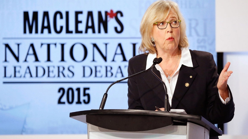 Elizabeth May at the first federal leaders' debate. CP Photo