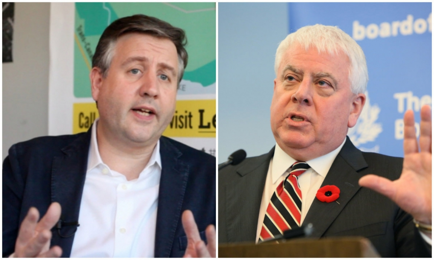 Left: Kennedy Stewart right: Kinder Morgan pres. Ian Anderson