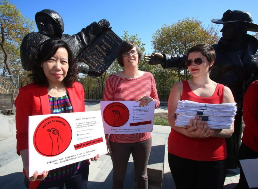 Advocates for the No Tax on Tampons campaign