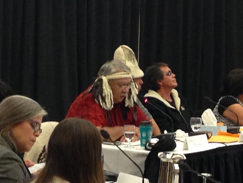 Tsawout elder Eric Pelkey testifying before the NEB