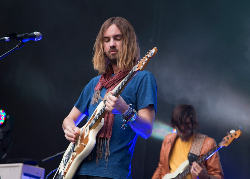 Kevin Parker and Cam Avery of Tame Impala, playing to fans at Malkin Bowl.