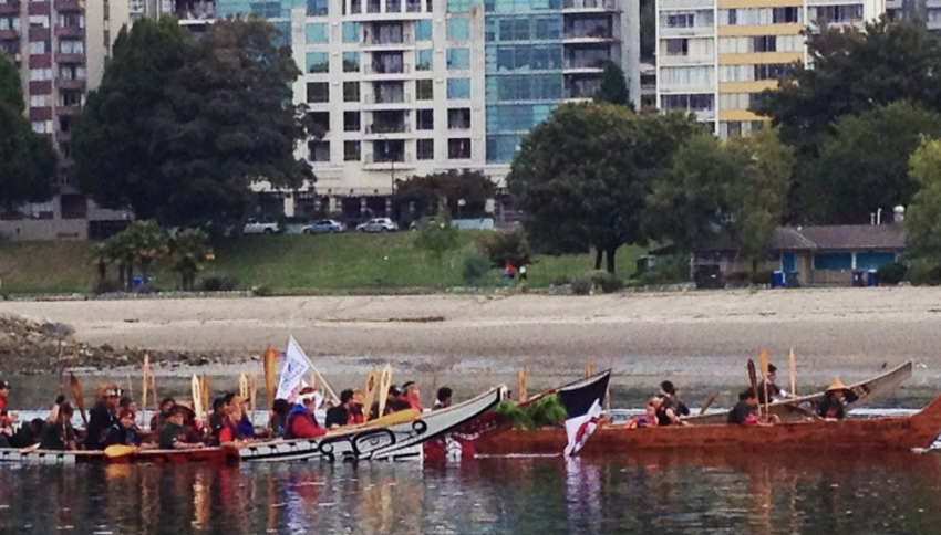 Truth and Reconciliation, canoe, procession, Reconciliation Week, False Creek