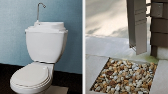 Toilet lid insert for washing hands; rain water catchment system