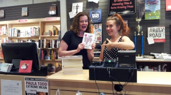 Mary-Ann Yazedjian and Talia at Book Warehouse on Main Street