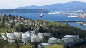 Burnaby refinery and Burrard inlet. Photo from Green Party of BC