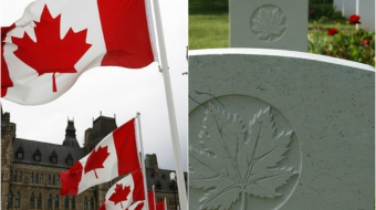 Left:  Parliament. Right: maple leaf engraved on coffins at Beny-sur-mer, France