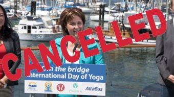 Christy Clark yoga on the bridge project cancelled