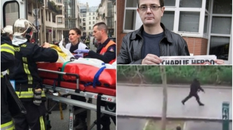 Left: shooting scene. Top right: Charb, video of gunmen at Charlie Hebdo office