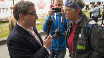 Ezra Levant at an anti-oil pipeline rally in Vancouver