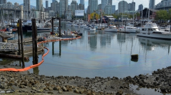 A diesel fuel spill hit False Creek wharf Monday. Photo by Jeremy Board