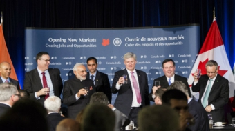 Narenda Modi, Stephen Harper, James Moore, Jason Kenney, Uranium deal