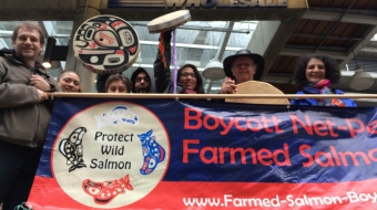 Costco farmed salmon protest Vancouver - Mychaylo Prystupa