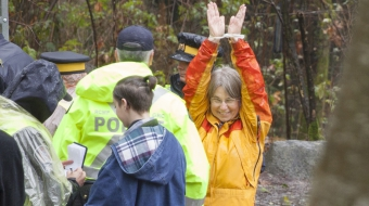 SFU scientist Lynne Quarmby seconds before her arrest on Burnaby Mountain