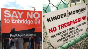 Northern Gateway protest; Kinder Morgan sign