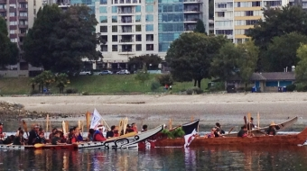 False Creek, canoe, procession, First Nations, TRC, Truth and Reconciliation