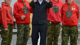 Harper at Whitehorse Airport with Canadian Rangers